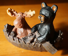 Moose & Black Bear Wood Carved Canoe Figurine Country Lodge Cabin Home Decor