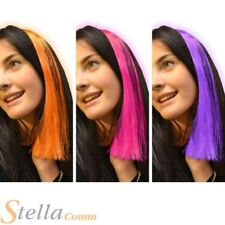 Pack of 3 Neon Clip In Hair Extensions Bright Colourful Pink Purple Orange