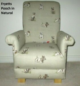 Child's Chair Kid's Beige Armchair Fryetts Pooch Fabric Natural Dogs Puppies