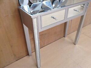 Valetta Silver Wood Mirrored  Glass console table 90cm wide