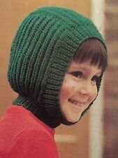 FCg2 - Knitting Pattern For Kids 4-ply Wooly Balaclava Helmet Hat - Children's