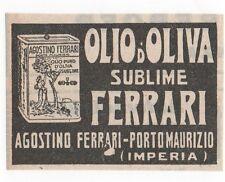 Pubblicità epoca 1924 OLIO OLIVA FERRARI IMPERIA OIL advert werbung publicitè
