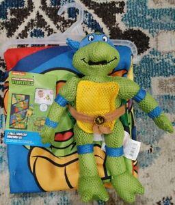 Teenage Mutant Ninja Turtles 2pc Bath Wash Set Towel Scrubby Nickelodeon Tub Toy