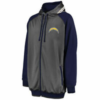 Los Angeles Chargers Full Zip Hoodie 2XL Charcoal Raglan Sleeves Majestic NFL