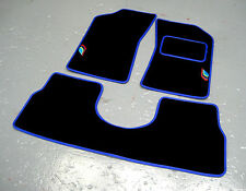 Black/Blue Car Mats to fit Peugeot 205 + Talbot Sport Logos (x2) + Saddle Rear