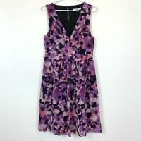 Nicola Finetti Womens Purple/Black Sleeveless Lined Dress Size 12