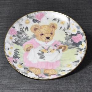 Franklin Mint Teddy's Spring Bouquet Plate Collectors Heirloom Teddy Bear