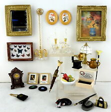 Dolls House Miniature Living Room Mixed Accessory Lot Set Mirror Clock Pictures
