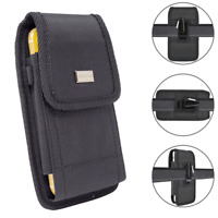 For iPhone SE (2020) Tactical Holster Duty Nylon Pouch Metal Clip Rugged Case