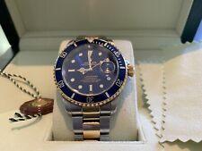 Rolex Submariner Date Watch: Men's 18k Gold/Stainless Steel Blue Face/Bezel