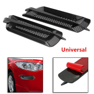 Pair Car Side Air Flow Vent Fender Cover Intake Grille Sticker Carbon Fiber Look
