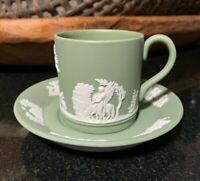 "1970 Wedgwood Jasperware Sage Green 2 1/4"" Demitasse Cup & Saucer - 13 Available"