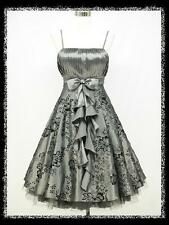 dress190 GREY 50s FLOCK TATTOO ROCKABILLY COCKTAIL VINTAGE PARTY DRESS 18-20
