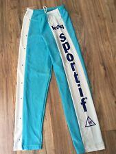 Vintage Le Coq Sportif Spellout Track Exercise Cycling Pants 80's Blue Nylon L