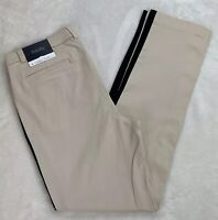 Rafaella Comfort Ankle Pants Beige Black Stripe Pull On Slim Fit Stretchy Size 8