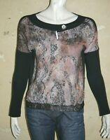 LA FEE MARABOUTEE Taille 38 Superbe haut manches longues tee shirt blouse noir