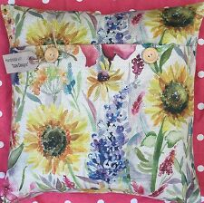 "Handmade cushion cover using Voyage Linen ""Sun Flowers"" floral"