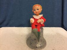 VINTAGE ELF/PIXIE FELT OUTFIT SITTING ATOP A GLITTER BELL  CHRISTMAS ORNAMENT