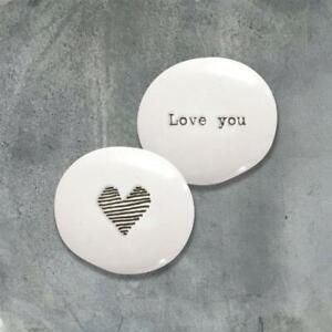 Love You Pebble - White Porcelain Mini Keepsake Token Gift - East Of India
