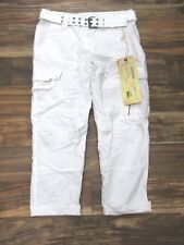 NEW Da-Nang Women's Casual Crop Pants Capris Belted Cargo WHITE HPG5374 SMALL S