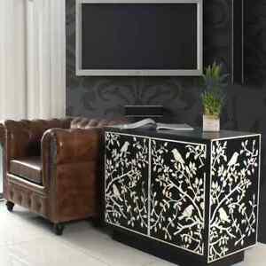 Handmade Bone Inlay Floral Cabinet Buffet Sideboard 2 Door