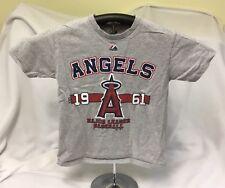 Majestic MLB Grey Tshirt Anaheim Los Angeles Angels Baseball Youth Size Small