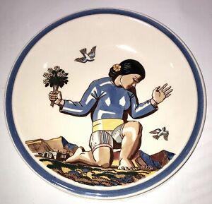"Vernon Kilns Salamina  Rockwell Kent Kneeling woman Dinner 10.25"" Plate"