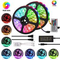 5/10M LED Strip Light 3528 5050 SMD RGB 60Leds/m Flexible 44K IR Controller 12V