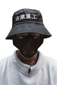 Japanese Streetwear Embroidered Black Bucket Hat for Men
