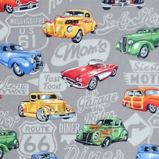 Nutex HOT RODS Rockabilly Route 66 Car Truck diner Fabric