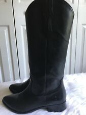 FRYE Womens Ray Western Pull On Knee High Cowboy Black Boots Size 9