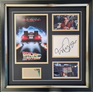 MICHAEL J FOX  Signed Autograph Display - Back To The Future - AFTAL - Delorean