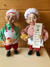 "RAZ Imports 9/"" Kitchen Baker Chef Elves Set//2 Holding Cake Rolling Pin Christmas"