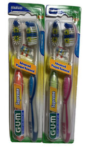GUM SUPREME 2 PACK STANDARD TOOTHBRUSHES MEDIUM #1396 X 2 PACKAGES
