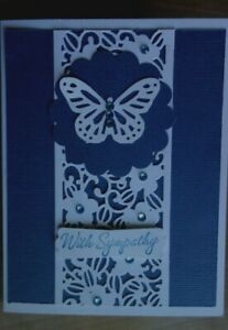 Handmade Sympathy Card With Butterfly Using Stampin Up Sue Wilson Dk Blue Layers