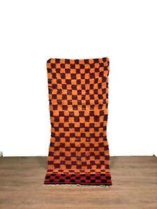 Checkred Rug Vintage Runner Cotton Boucherouite Moroccan Carpet Tribal Handmade