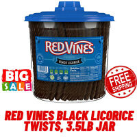 Red Vines Black Licorice Twists,Candy's Freshness,Fat Free, Soft-Chewy,3.5Lb Jar