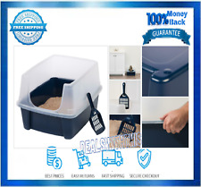 Cat Box Litter With Shield and Scoop Open-Top Navy Plastic Pet Food Protection