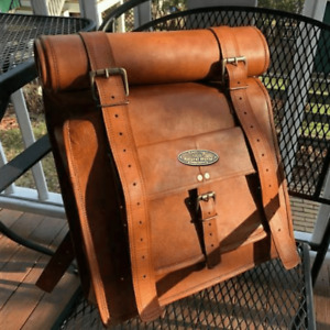 Men Large Compertment Backpack Genuine Travel Rucksack Hiking Bag Leather Bag