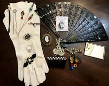 Lot of Vintage Antique Ladies Accessories, Gloves, Jewelry, Fan, Mirror, Hat Pin