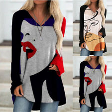 Women Long Sleeve T Shirt Crew Neck Casual Tops Floral Loose Blouse Tunic
