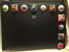 Authentic New Fendi Flat Pouch md in Italy with decor Studs