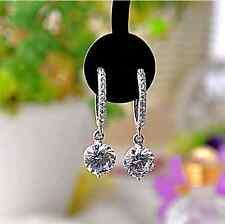 Aaa Cubic Zirconia Hoop Earring Super Sparkling *Rain Drops* Silver/2.0 Cts