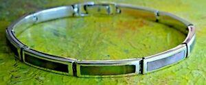 "Lovely vintage solid sterling panel bracelet set with abelone. 8"" and 20g"