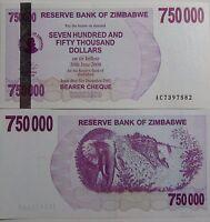 """BILLETE """"  ZIMBABWE   750 000  DOLARES   AÑO  2007   PLANCHA    UNC"""