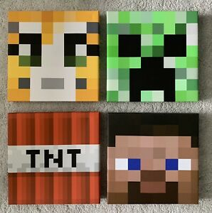 "Minecraft Canvas Wall Art X4 30cm 12"" Square - Creeper Steve TNT Ocelot"
