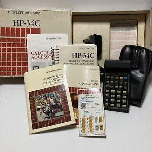 Vintage Hewlett Packard HP34C w/ Case Documention In its Original Box Untested