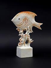 9942577 Porzellan Figur Aquarium Fisch Bisquit rot Wagner & Apel 7x24cm