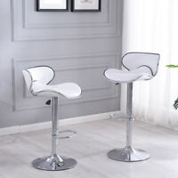 2 Pcs White Modern Bar Stool Adjustable Height Swivel Counter Pub Chair Barstool