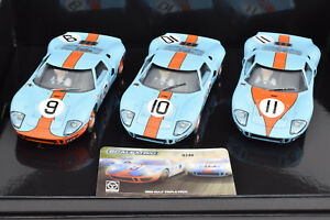 """Scalextric """"Gulf"""" Ford GT40 - 1968 Le Mans LE Boxed Set 1/32 Slot Cars C3896A"""